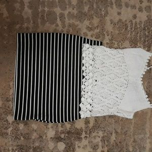 Two skirts and one crochet top